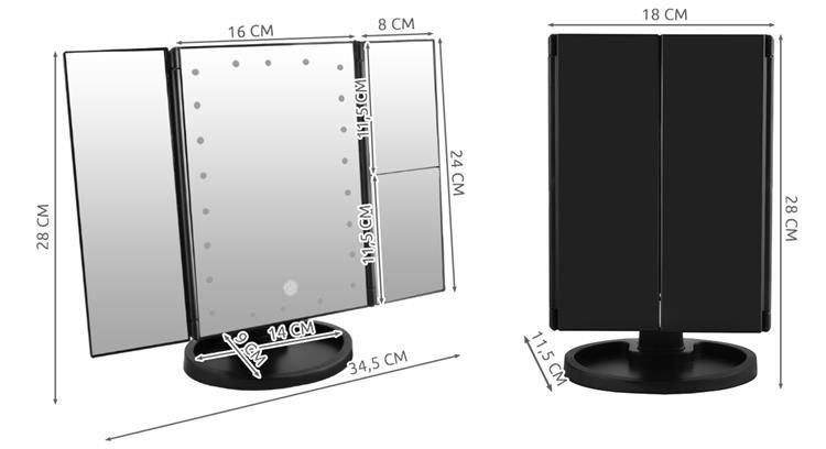 Kosmētikas spogulis ar LED apgaismojumu